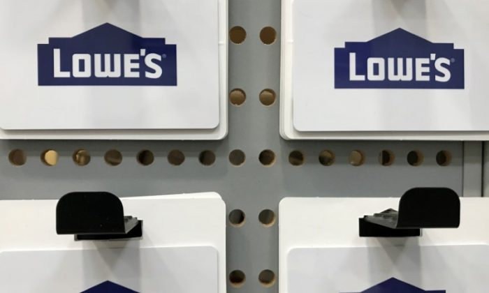 Gift cards are shown for sale inside a Lowe's retail store in Carlsbad, California, on May 24, 2017. (Mike Blake/Reuters)