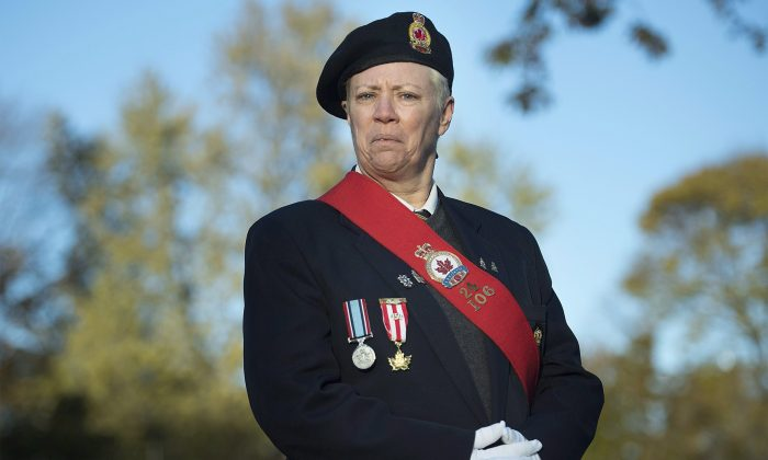 Della Robertson, whose grandfather fought in the battle of Vimy Ridge in Montreal on Sunday, November 4, 2018. (Graham Hughes/The Canadian Press)