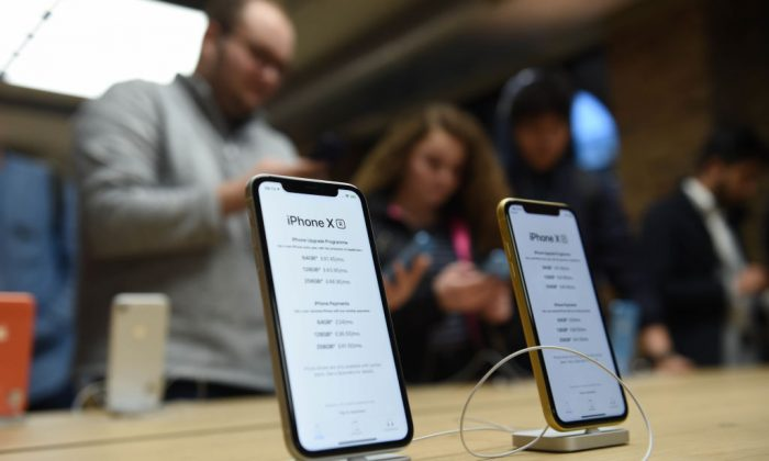 General view of customers at the Apple Covent Garden re-opening and iPhone XR launch at Apple store, Covent Garden on Oct. 26, 2018 in London, England. (Stuart C. Wilson/Getty Images)