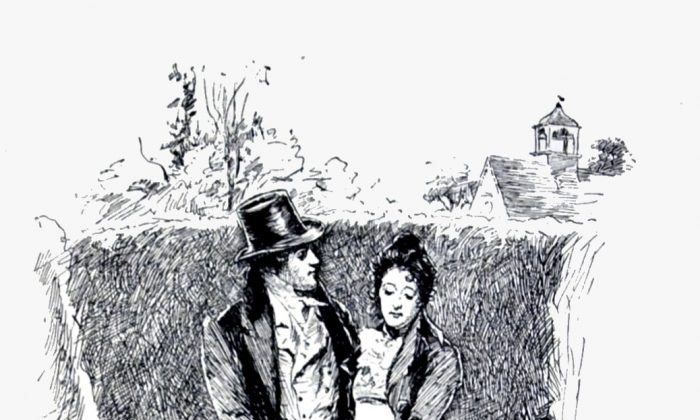 "Mr Knightley's proposal to Emma. An illustration by Chris Hammond in the 1898 edition of ""Emma."" (Public Domain)"