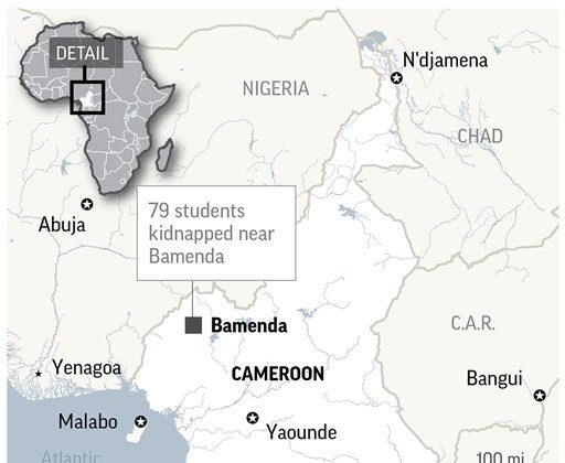 Armed separatists kidnapped at least 79 students and three staff members from a Presbyterian school in a troubled English-speaking region of Cameroon, the governor said on Nov. 5. (AP)