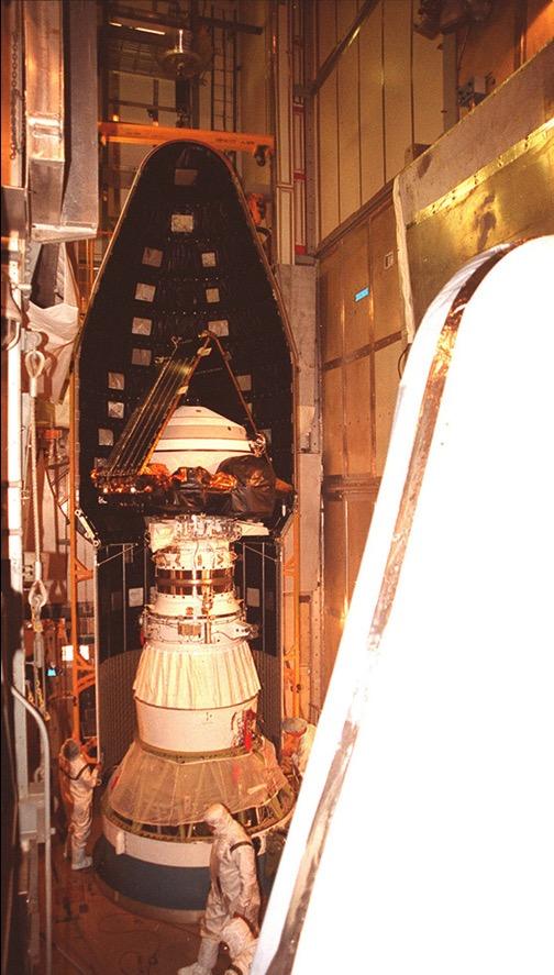 genesis spacecraft inside the rocket before launch