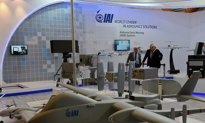 Drones from the Israel Aerospace Industries (IAI) are displayed during the Aero India 2015 air show at Yelahanka Airforce Station in Bangalore on Feb. 20, 2015. (Manjunath Kiran/AFP/Getty Images)
