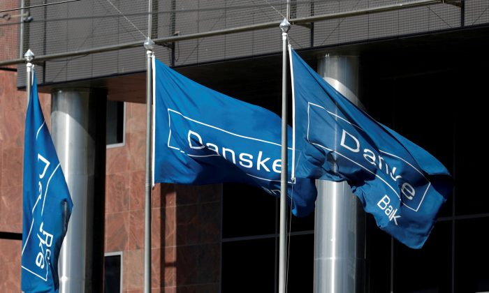 Danske Bank flags flutter at the bank's Estonian branch in Tallinn, Estonia on Aug. 3, 2018. (Ints Kalnins/File Photo/Reuters)