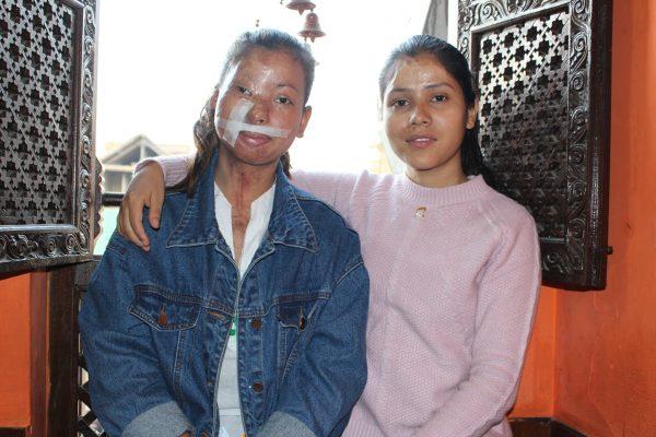 Sangita Magar (L), 19, and Sima Basnet, 20, at a restaurant in Kathmandu, Nepal.