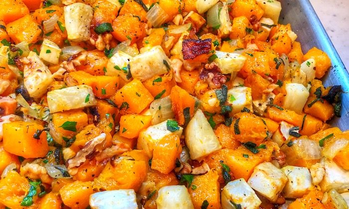 A drizzle of colatura finishes a dish of roasted vegetables. (Courtesy of Ken Arnone)