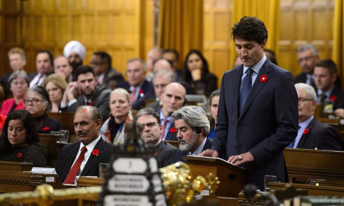Prime Minister Justin Trudeau delivers a formal apology over the fate of the MS St. Louis and its passengers in the House of Commons on Parliament Hill in Ottawa on Nov. 7, 2018.  (The Canadian Press/Sean Kilpatrick)