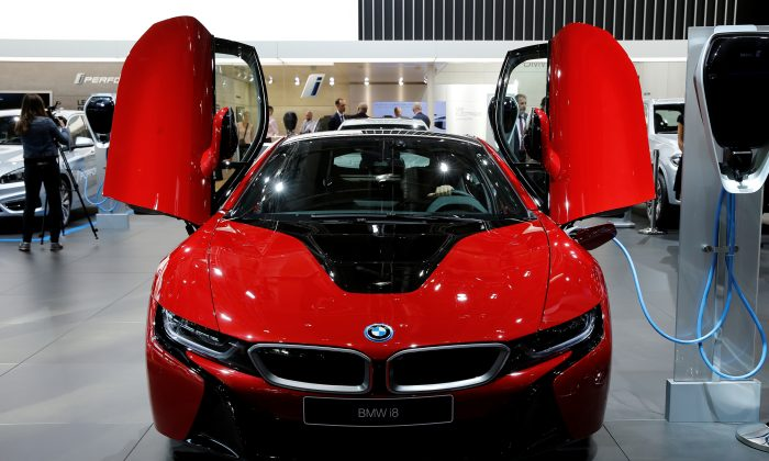 The BMW i8 car is displayed on media day at the Paris auto show, in Paris, France, on Sept. 29, 2016. (Benoit Tessier - D1BEUECVRVAB/Reuters)