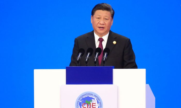 Chinese leader Xi Jinping speaks at the opening ceremony of the first China International Import Expo (CIIE) in Shanghai on Nov. 5, 2018. (Aly Song/AFP/Getty Images)