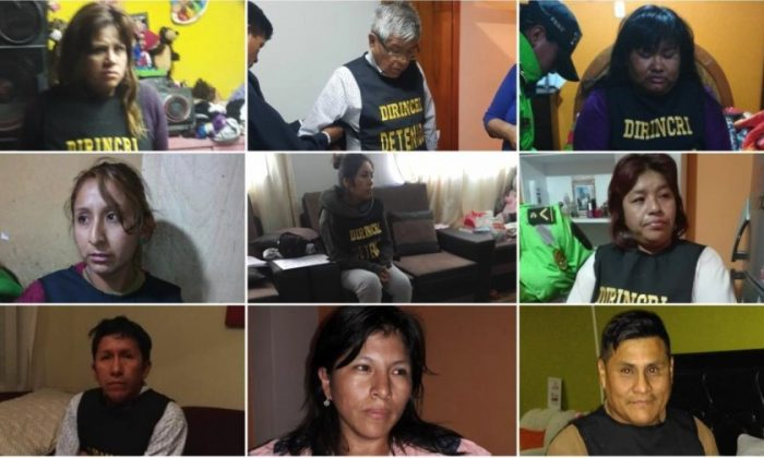 The office of Peru's Prosecutor-General released photos of some of the individuals detained in a raid, on Nov. 6, 2018. (Ministerio Publico Fiscalia de la Nacion via Twitter)
