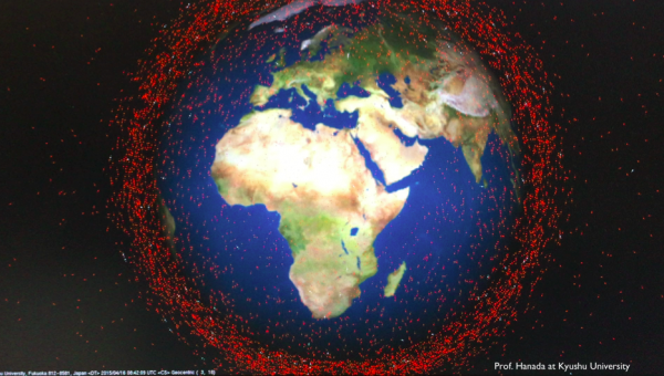 Space debris around Earth in an image taken from a simulation program.