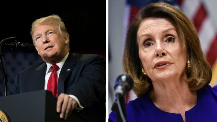 President Donald Trump speaks at a Make America Great Again rally in Cape Girardeau, Missouri on Nov. 5, 2018. Right: Nancy Pelosi (Jim Watson/AFP;  Mandel Ngan/AFP/Getty Images)