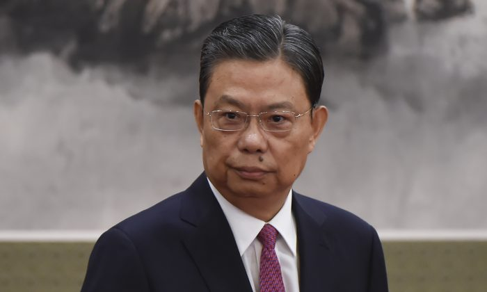 Zhao Leji, head of the Chinese Communist Party's anti-corruption agency, the Central Commission for Discipline Inspection, is introduced to the media, in Beijing's Great Hall of the People on October 25, 2017. (WANG ZHAO/AFP/Getty Images)