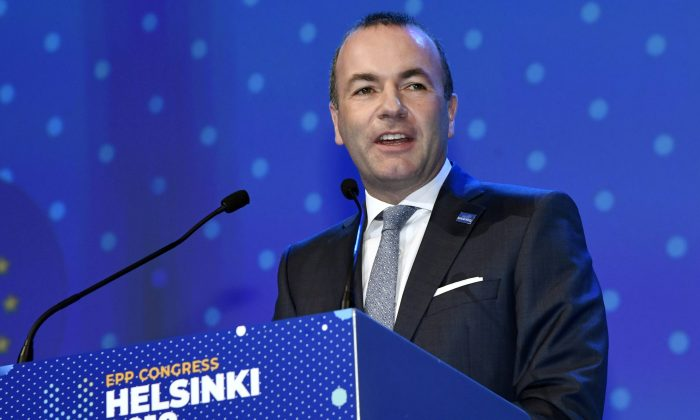 Manfred Weber of Germany delivers his speech at the European People's Party congress in Helsinki on Nov. 8, 2018. (Lehtikuva/Markku Ulander/Reuters)