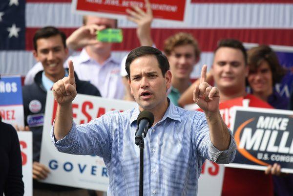 Senator Marco Rubio introduces Republican candidate for Governor of Florida Ron DeSantis at a rally in Orlando