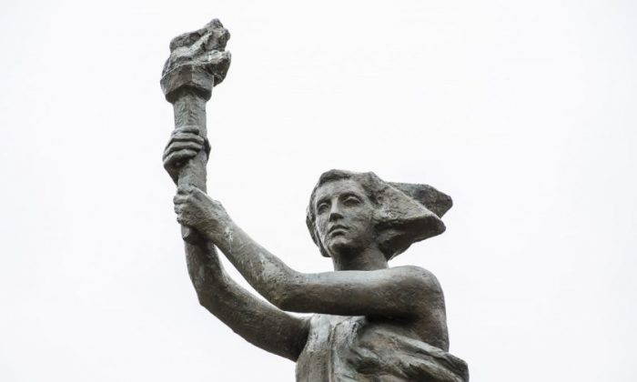 The Victims of Communism Memorial in Washington on Nov. 8, 2017. Established by the Victims of Communism Memorial Foundation, it is a replica of the Goddess of Democracy statue erected during China's Tiananmen Square protests in 1989. (Samira Bouaou/The Epoch Times)