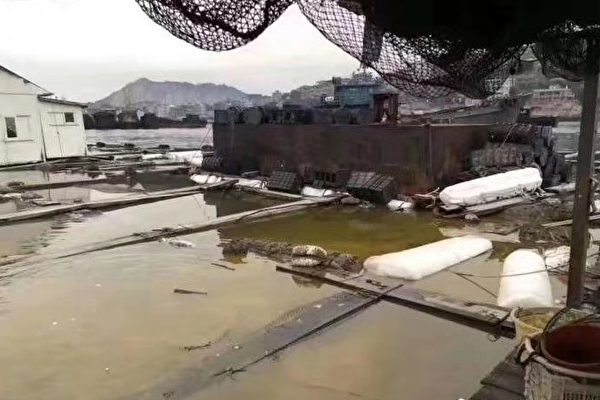 Fishing equipment damaged by the Nov. 4 hydrocarbon leak shown in a photo taken by locals in Quanzhou, Fujian province, China. (The Epoch Times)