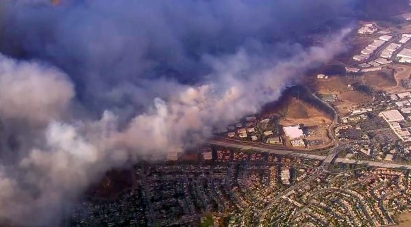 aerial view of hill fire