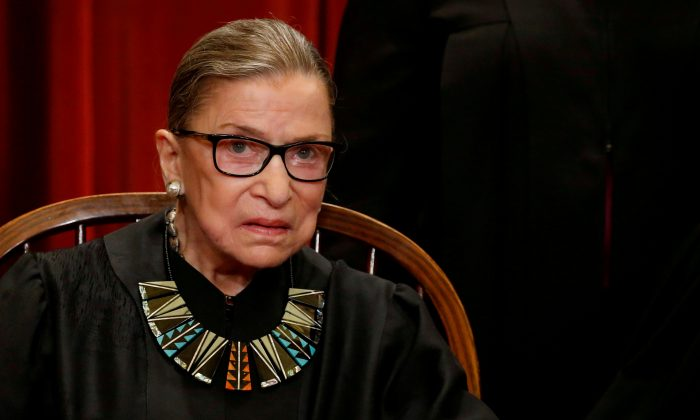U.S. Supreme Court Justice Ruth Bader Ginsburg  at the Supreme Court building in Washington, D.C., U.S., on June 1, 2017. (Jonathan Ernst/Reuters/File)