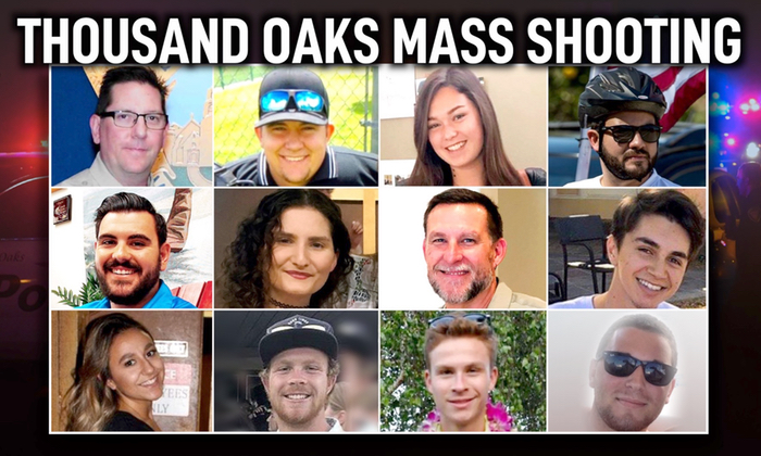 A photo compilation of the victims from the Thousand Oaks shooting on Nov. 7.  (L-R Ventura County Sheriff's Office, Jason Coffman via CNN, Adam Housley via AP, Mekahlo Medina/Twitter,  Channel Islands Social Services via AP, Jackie Jones via AP, Debra Ross via AP, ‏Alys Martinez/Twitter, Mrs. Grey/Twitter, aidan_dgmn/Instagram, Jake Dunham/Facebook)