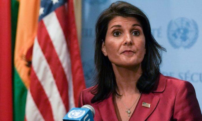 Former U.S. Ambassador to the U.N. Nikki Haley speaks during a news conference at U.N. headquarters in Manhattan, New York, on Sept. 20, 2018. (Jeenah Moon/Reuters)