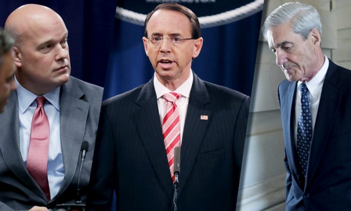 (L-R) Acting Attorney General Matt Whitaker; Deputy Attorney General Rod Rosenstein; Special Counsel Robert Mueller. (Getty Images)