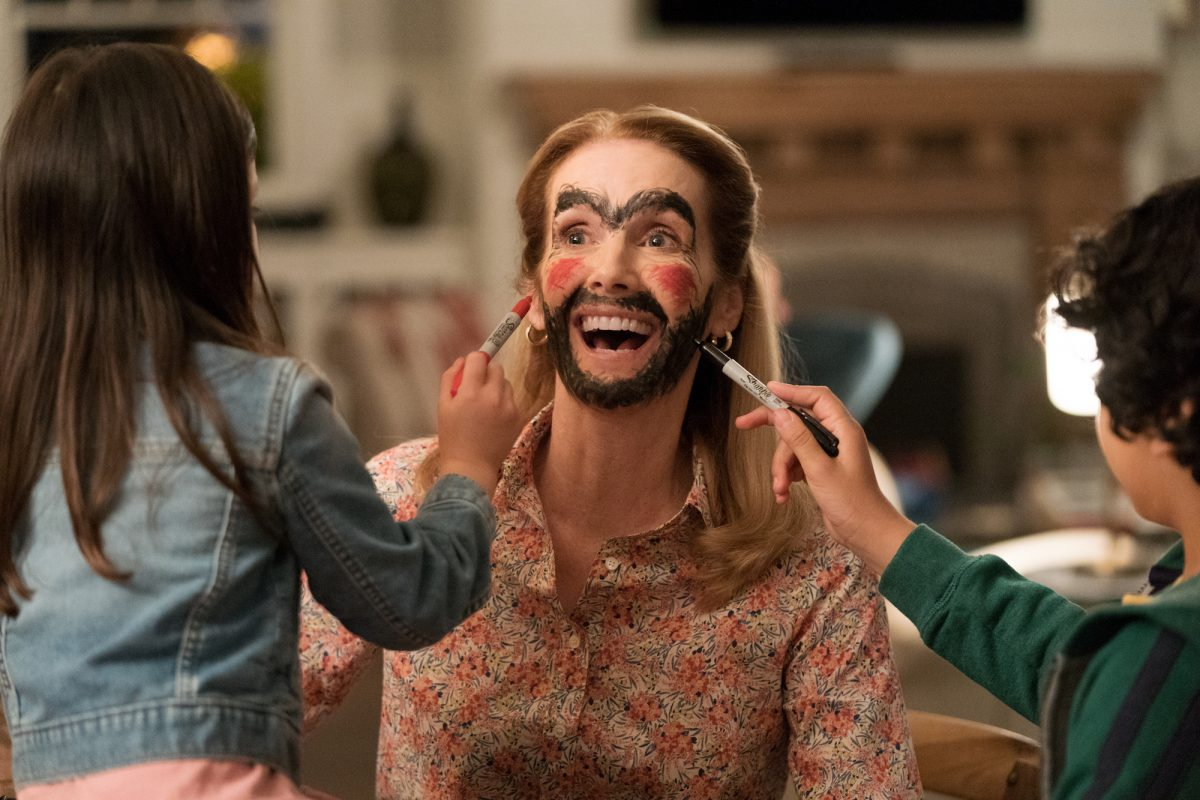 Julie Hagerty gets face painted