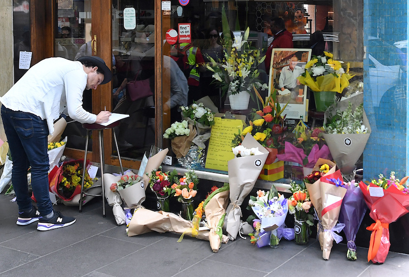 Floral tributes at Pelligrini's Cafe in Melbourne