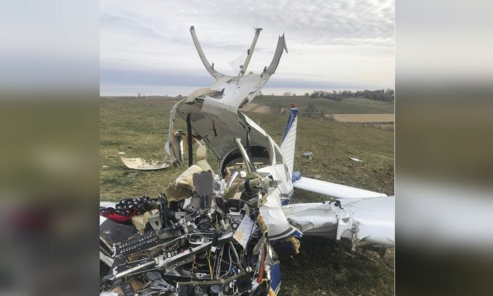 A small plane crashed in central Iowa, killing all four people on board, including a teenage girl on Nov. 10, 2018. (Guthrie County Sheriff's Department via AP)