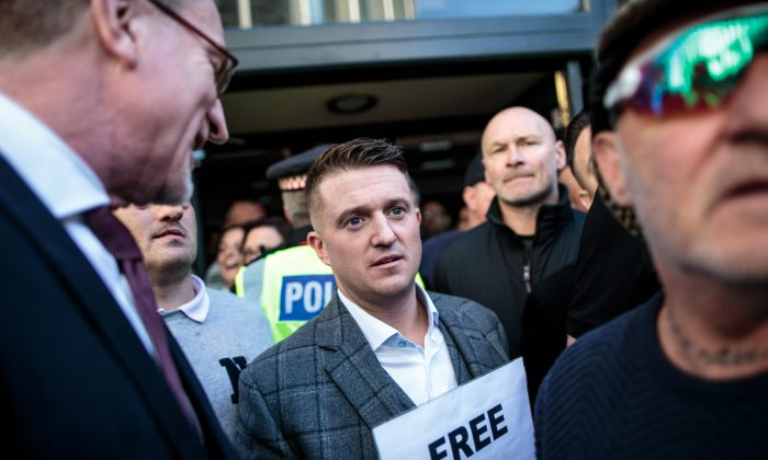 Tommy Robinson greets supporters outside the Old Bailey court in London, on Sept. 27, 2018. (Jack Taylor/Getty Images)
