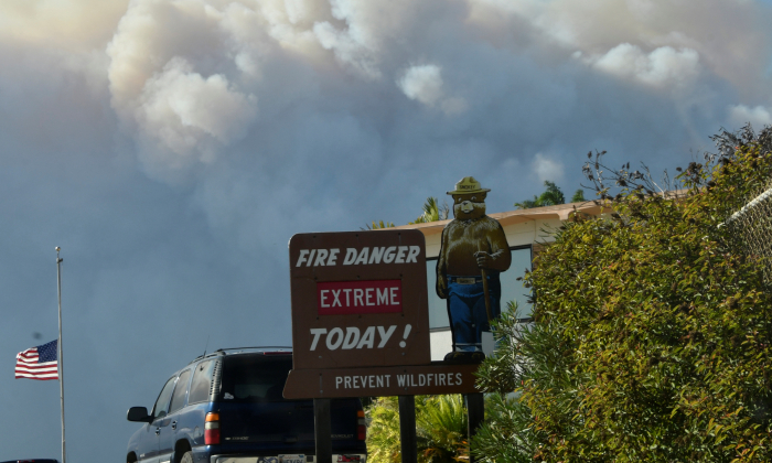 A Smokey Bear sign is seen along PCH as smoke from the Woosley Fire is seen as it approaches Malibu, California, U.S. November 9, 2018. (Gene Blevins/Reuters)