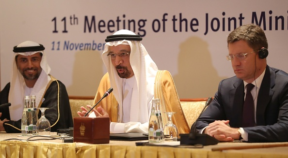 Saudi Energy Minister Khalid al-Falih (C), Russian Energy Minister Alexander Novak (R),  and UAE's Energy Minister Suhail Mohammed Faraj al-Mazroui (L) attend during a meeting of their Joint Ministerial Monitoring Committee in the Emirati capital Abu Dhabi on Nov. 11, 2018. (KARIM SAHIB/AFP/Getty Images)