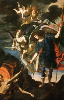 Archangel Michael reaching to save souls in purgatory