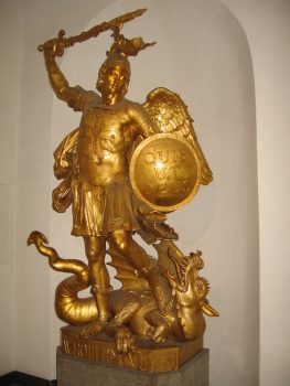 statue of St. Michael slaying a dragon
