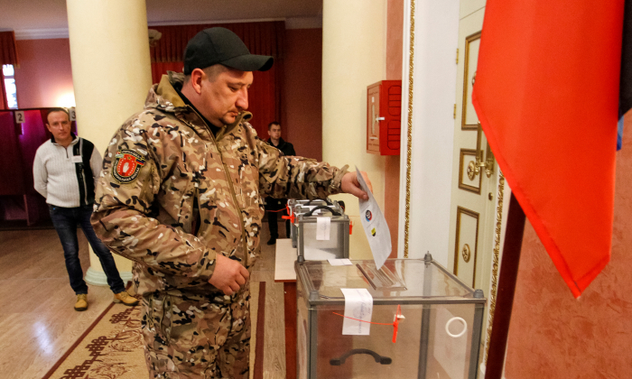A man casts his ballot during leadership elections in rebel-controlled Donetsk, Ukraine Nov. 11, 2018. (Alexander Ermochenko/Reuters)