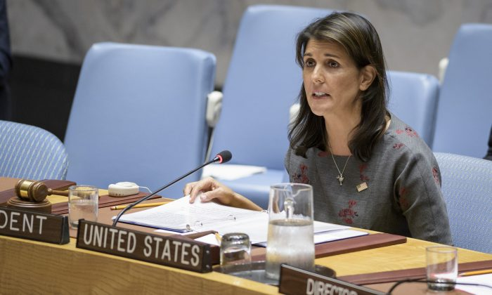 Nikki Haley, United States ambassador to the UN during a Security Council meeting on Sept. 6, 2018, at the U.N. headquarters in New York City. (UN Photo/Manuel Elias)