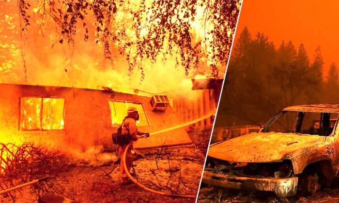 Firefighters battle flames at a burning apartment complex in Paradise, north of Sacramento, California on November 09, 2018. (Josh Edelson, Justin Sullivan/ AFP)