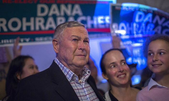 Republican Rep. Dana Rohrabacher, 48th District, speaks to supporters on election night at his campaign headquarters in Costa Mesa, Calif. on June 5, 2018. (Photo by David McNew/Getty Images)