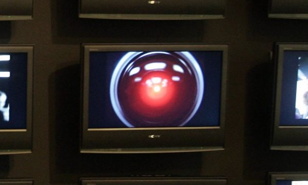 HAL 9000 is viewed on a screen