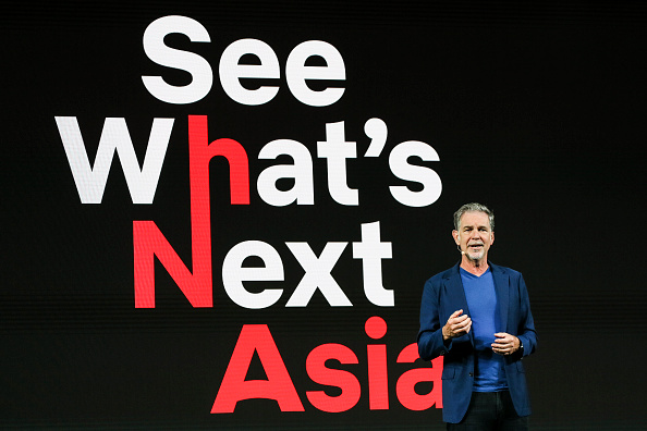 Netflix CEO Reed Hastings delivers his opening address during day one of the Netflix See What's Next: Asia event at the Marina Bay Sands on Nov. 8, 2018 in Singapore. (Photo by Ore Huiying/Getty Images for Netflix)