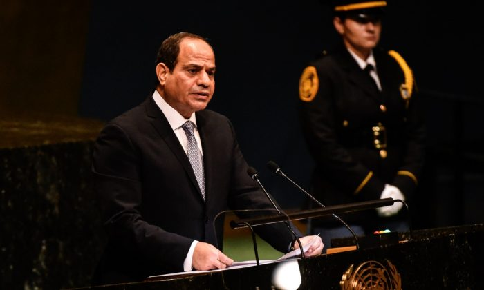 Egyptian President Abdel Fattah al-Sisi delivers a speech to the United Nations General Assembly in New York City, on September 25, 2018. (Stephanie Keith/Getty Images)