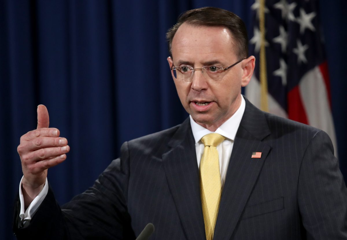 deputy attorney general speaks at a press conference