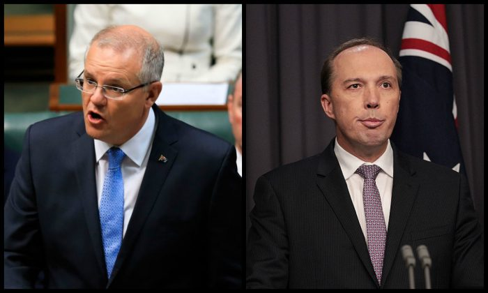 (L) Australia's Prime Minister Scott Morrison (Sean Davey/AFP/Getty Images) and (R) Immigration Minister Peter Dutton (Stefan Postles/Getty Images).