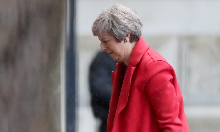 Britain's Prime Minister Theresa May returns to Downing Street in London on Nov. 12, 2018. (Simon Dawson/Reuters)