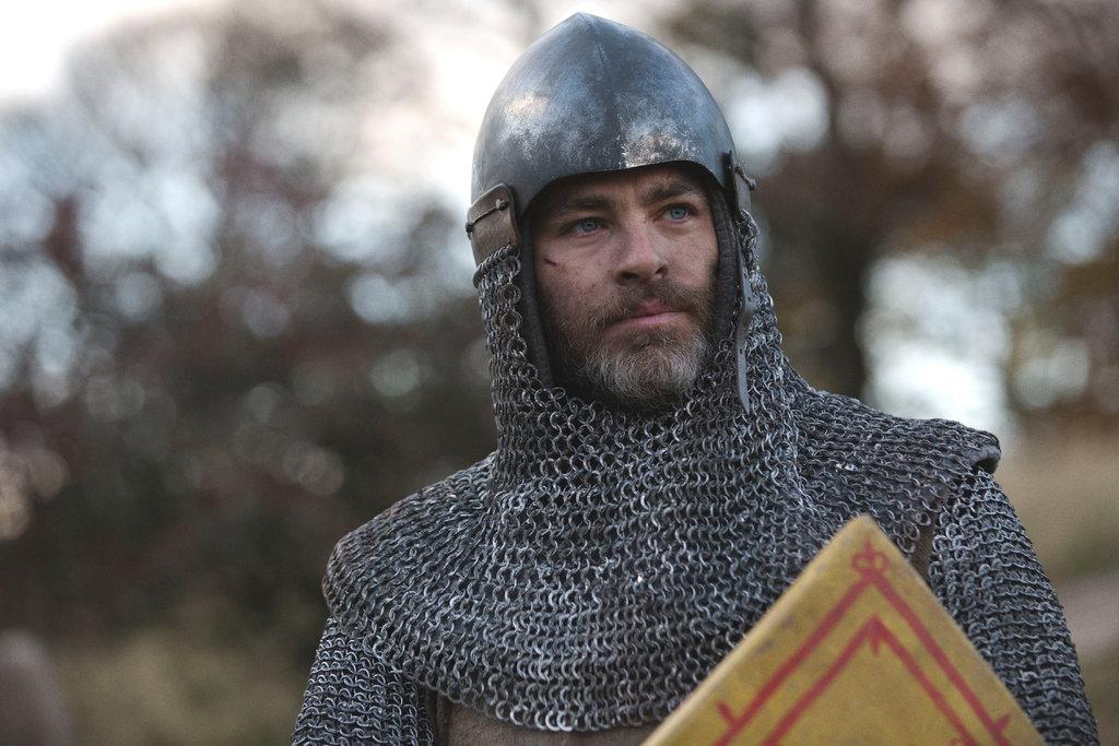 Chris Pine wearing armor