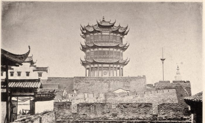 """The Yellow Crane Tower in 1871, from """"China and Its People"""" by photographer  John Thomson. (Public Domain)"""