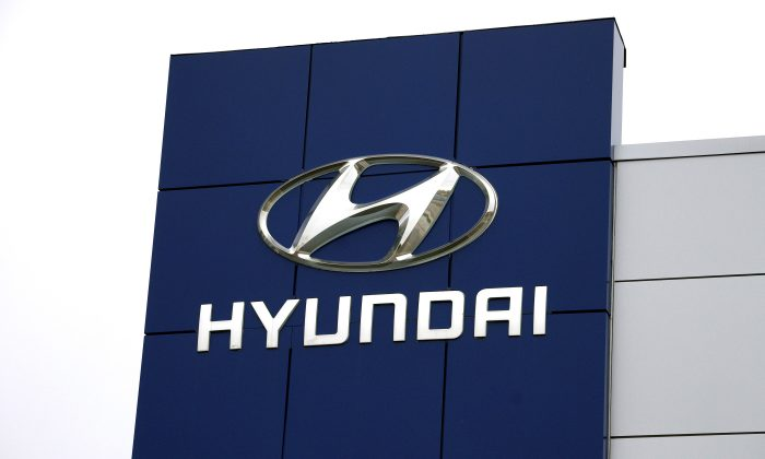 The Hyundai logo is seen outside a Hyundai car dealer in Golden, Colo., on Nov. 3, 2014. (Rick Wilking/File Photo/Reuters)