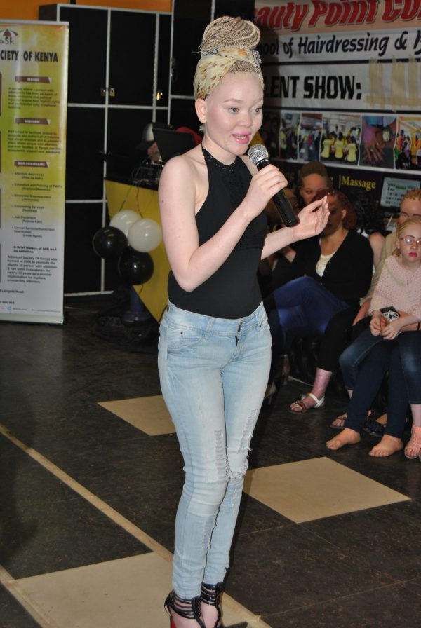 Lucianna Nyawira, a female contestant for Mr. & Ms. Albinism East Africa.