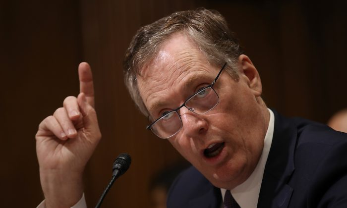 U.S. Trade Representative Robert Lighthizer testifies before the Senate Finance Committee in Washington, on March 22, 2018. (Win McNamee/Getty Images)
