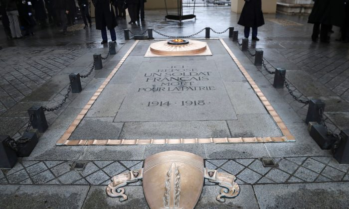 The eternal flame of the Tomb of the Unknown soldier beneath the Arc de Triomphe, in Paris, during the Armistice Day commemorations marking the end of WWI (World War One) on Nov. 11, 2017. ( JACQUES DEMARTHON/AFP/Getty Images)